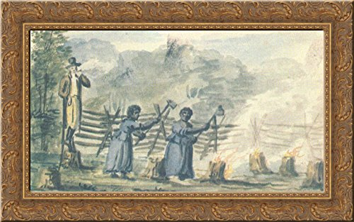 (At the plantation 24x16 Gold Ornate Wood Framed Canvas Art by Pavel Svinyin)