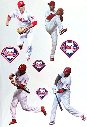 Player Mlb Phillies (FATHEAD Philadelphia Phillies Mini Team Set 4 Players + 4 Phillies Logo Official MLB Vinyl Wall Graphics - Each Player Graphic 7