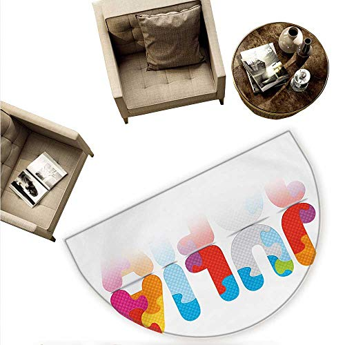 Julia Semicircular Cushion Puzzle Style Colorful Letters Preschool Theme Girl Name with Roman Mythology Roots Entry Door Mat H 66.9