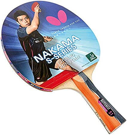 Butterfly Nakama S-1 Table Tennis Racket – Professional ITTF Approved Ping Pong Paddle – Sriver Rubber – Carbon Ping Pong Paddle – 2 Ping Pong Balls ...