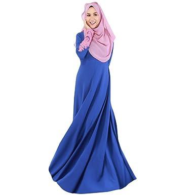 Highdas Turque Maxi Dress Femme Manches Longues Abaya Islamique Vêtements  Femme Musulmane Vêtements pour Femmes Dentelle ce41d1602e3