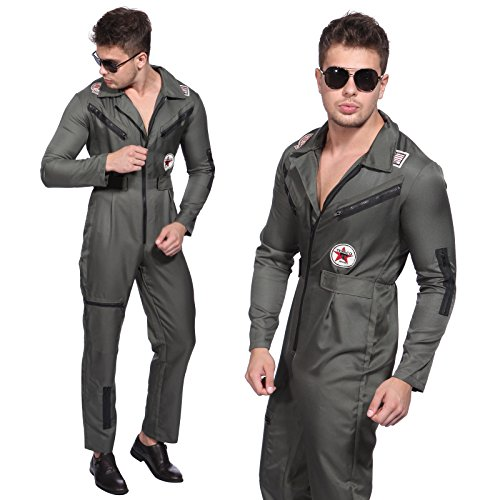 Top Gun Pilot Aviator Tag Fancy Dress Pilot 1980s Topgun Flight Suit Costume
