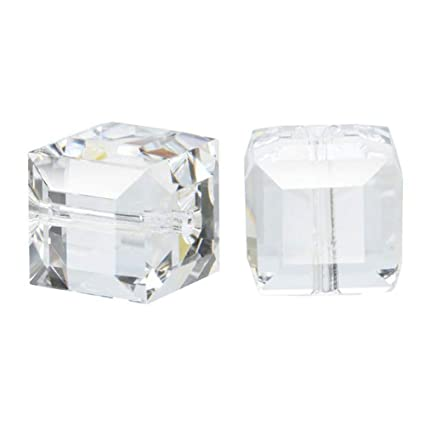 e5838bfd0 Amazon.com: 50 8mm Adabele Austrian Cube Crystal Beads Crystal Clear  Compatible with Swarovski Crystals Preciosa 5601 SSC801: Everything Else