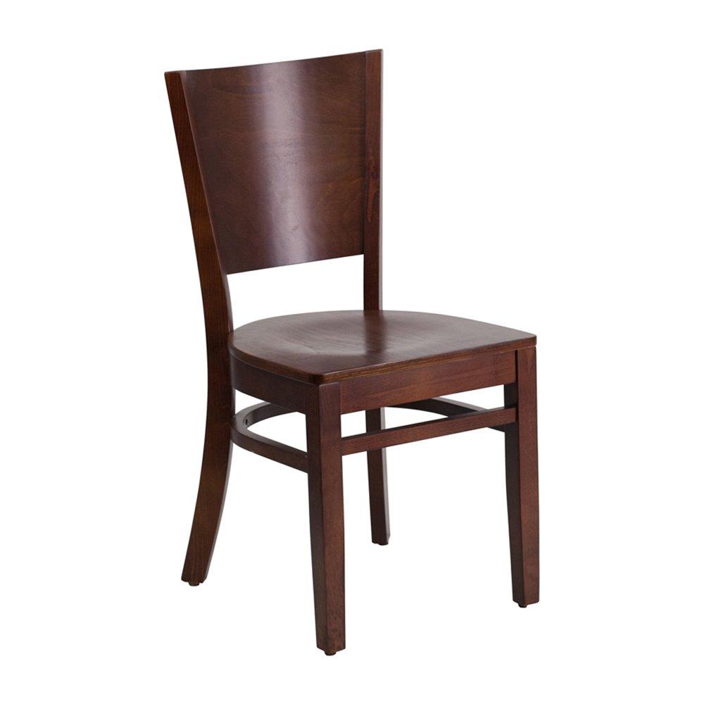 Walnut Wood Finish Offex Solid Back Beech Hardwood Restaurant Chair