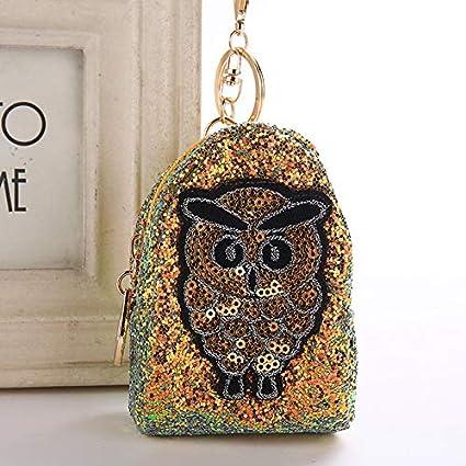 Amazon.com: Rarido Cute Owl Keychain Glitter Pompom Sequins ...