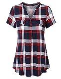 Vinmatto Women's Henley V Neck Short Sleeve Casual Plaid Tunic Shirt(XL,Plaid Red)
