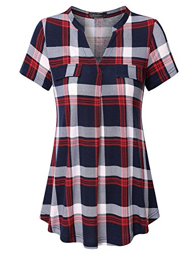 Vinmatto Women's Henley V Neck Short Sleeve Casual Plaid Tunic Shirt(M,Plaid Red) ()