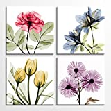 Tulip Rose Wall Art Painting in Golden Red Vivid Flower Home Wall Floral Canvas Print in 4 Panels