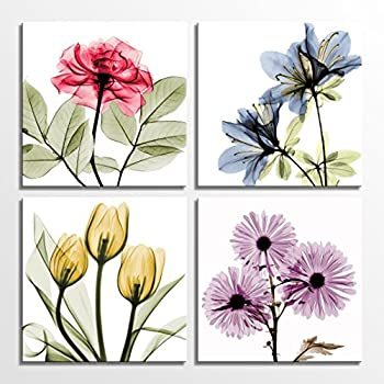 HLJ Tulip Rose Wall Art Painting in Golden Red Vivid Flower Home Wall Floral Canvas Print in 4 Panels (Colorful, 12x12inchesx4pcs (30x30cmx4pcs))