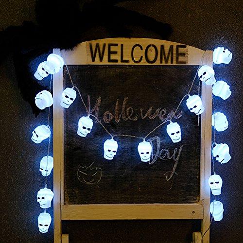 ARTSTORE 2Meter 20LEDs Skull Lights String,Fairy String Lighting Battery Powered for Christmas Home Party Bedroom Halloween Decoration]()