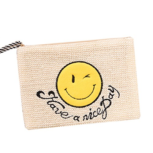 4 Tassel Bag Women Embroidery for Bags Straw Summer Smile 3 Beach Face Clutch Flada wOqIRv0q