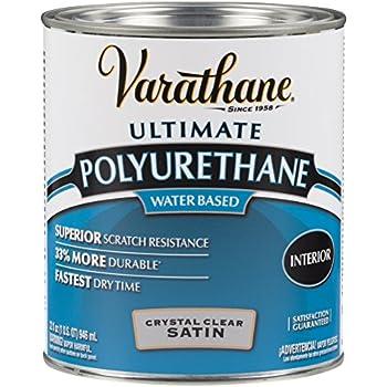Rust-Oleum Varathane 200241H 1-Quart Interior Crystal Clear Water-Based Poleurethane, Satin Finish