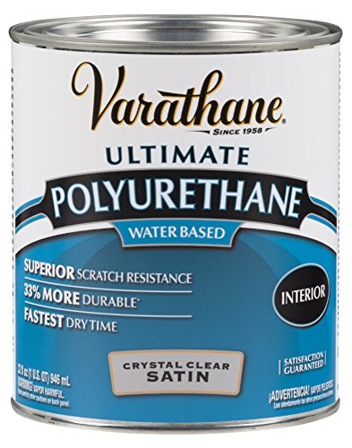 Rust-Oleum Varathane 200241H 1-Quart Interior Crystal Clear Water-Based Poleurethane, Satin Finish (Varathane Water)
