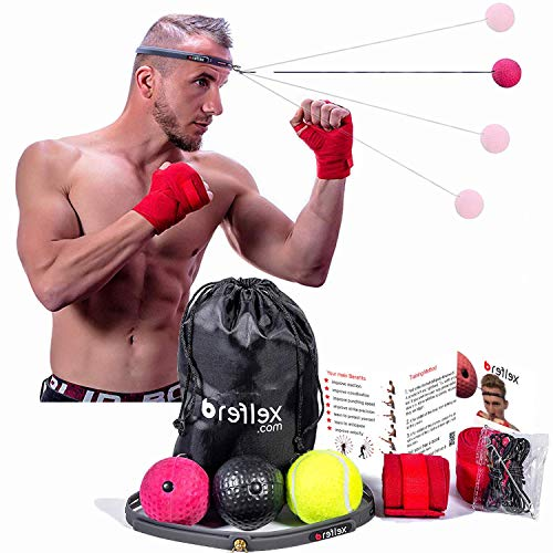 Boxing Reflex Ball Set 3 Difficulty Level Boxing Balls, Adjustable Headband, 2 Hand Wraps, Caring Bag, Extra Strings &Hooks for Better Reaction, Agility, Punch Speed, Hand and Eye Coordination ()