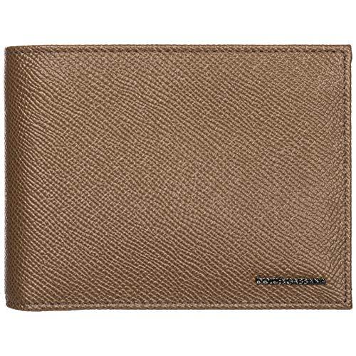 Dolce & Gabbana Brown Pebbled Leather Logo Bi Fold Wallet - Gabbana Mens Leather