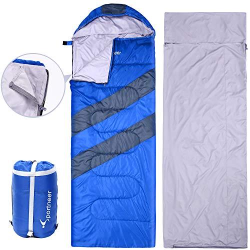 Sportneer Sleeping Bag with Built-in Liner Sheet for Travel, Camping (Blue)