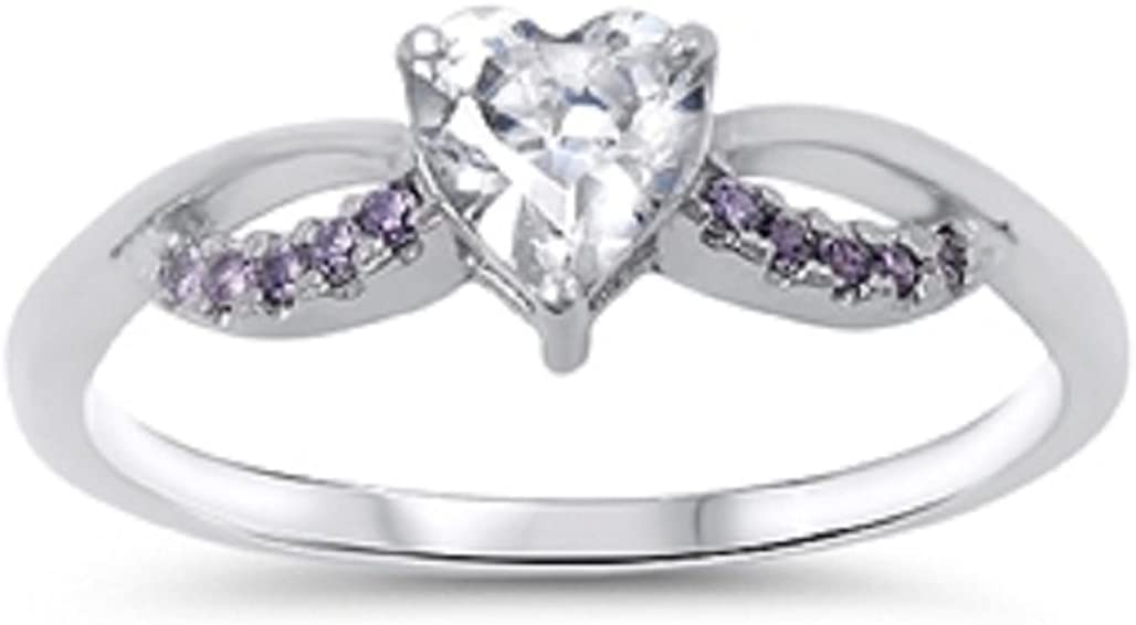 CloseoutWarehouse Simulated Amethyst Cubic Zirconia Ribbon Heart Ring Sterling Silver