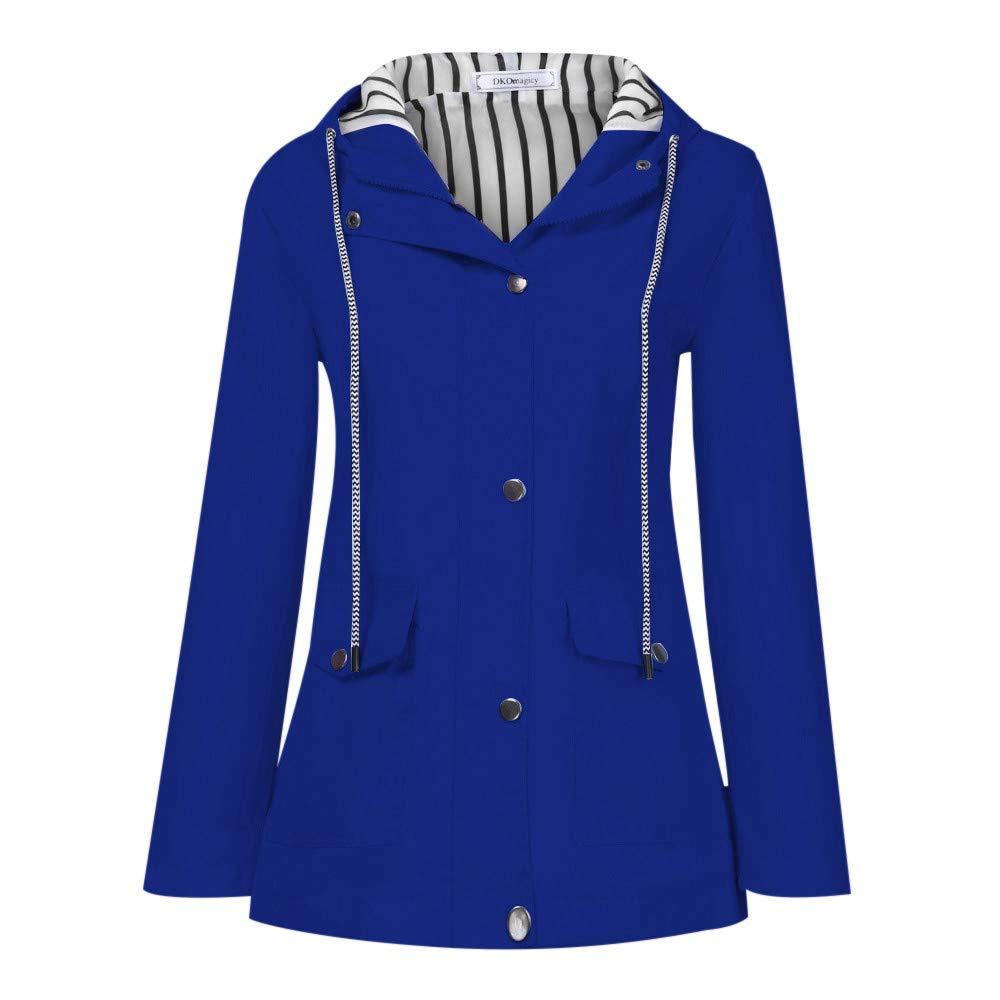 Shusuen Women's Waterproof Raincoat Hooded Rain Jacket Windbreaker Outdoor Trench Coats Blue by Shusuen_Clothes