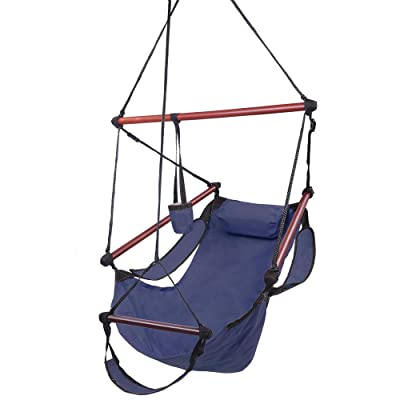 Hanging Hammock Chair with Armrests Footrest Pillow Cup Holder Carrying Bag Air Deluxe Outdoor Chair Hanging Swing Chair for All Ages 250LBS Blue: Garden & Outdoor