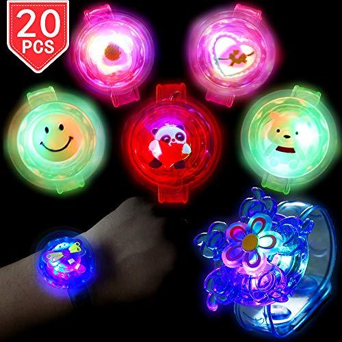 PROLOSO Light Up Bracelet LED Party Favors with Gyroscope Stocking Stuffers Toys -