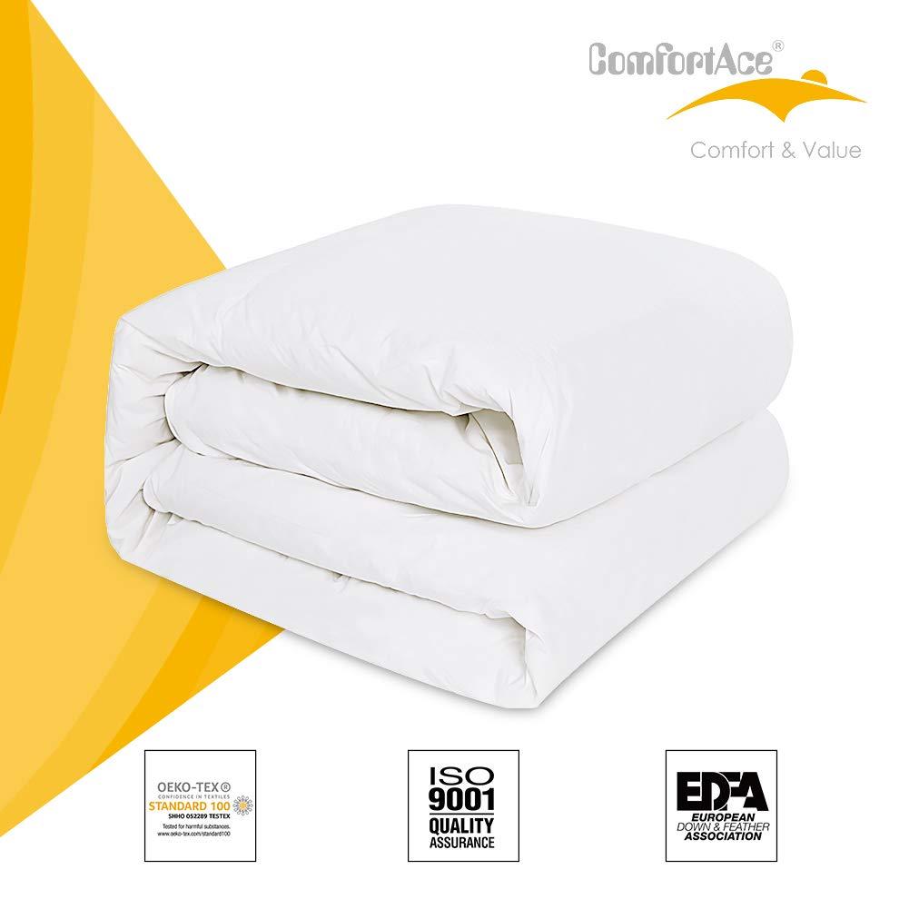 ComfortAce Provence 220x240cm Bettdecke Bezug aus Hochwertige 100% Baumwolle,80% Gänsedaunen Daunendecke,Soft-Komfort atmungsaktiv Anti-Milben Waschbar,Weiß