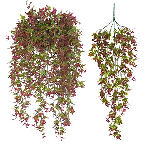 2 Pcs Artificial Vines Ivy Leaf Plants Vine Hanging Garland Fake Foliage Flowers for Party Outdoor Greenery Wedding Wall Decorations Supplies (Red-30.7)