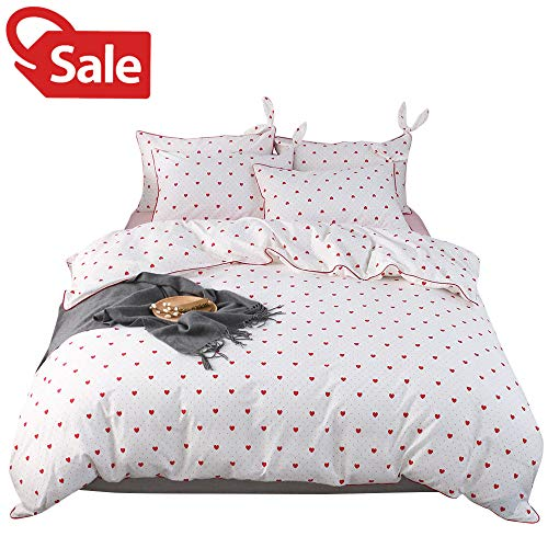 (Twin Girls Duvet Cover Love Heart Bedding Duvet Cover Sets Red Polka Dots Pattern White Background Bedding Collections with 2 Rabbit Ear Pillowcases Hand-stitched Edge for Women Children Teen Students )