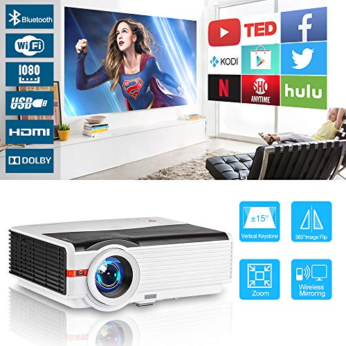 Wireless Bluetooth Projector WiFi Android LCD LED Smart Video Projectors Zoom Home Theater 5000 Lux Support HD 1080P Airplay Dual HDMI USB VGA AV for Smartphone DVD Game Consoles Laptop Outside Movie