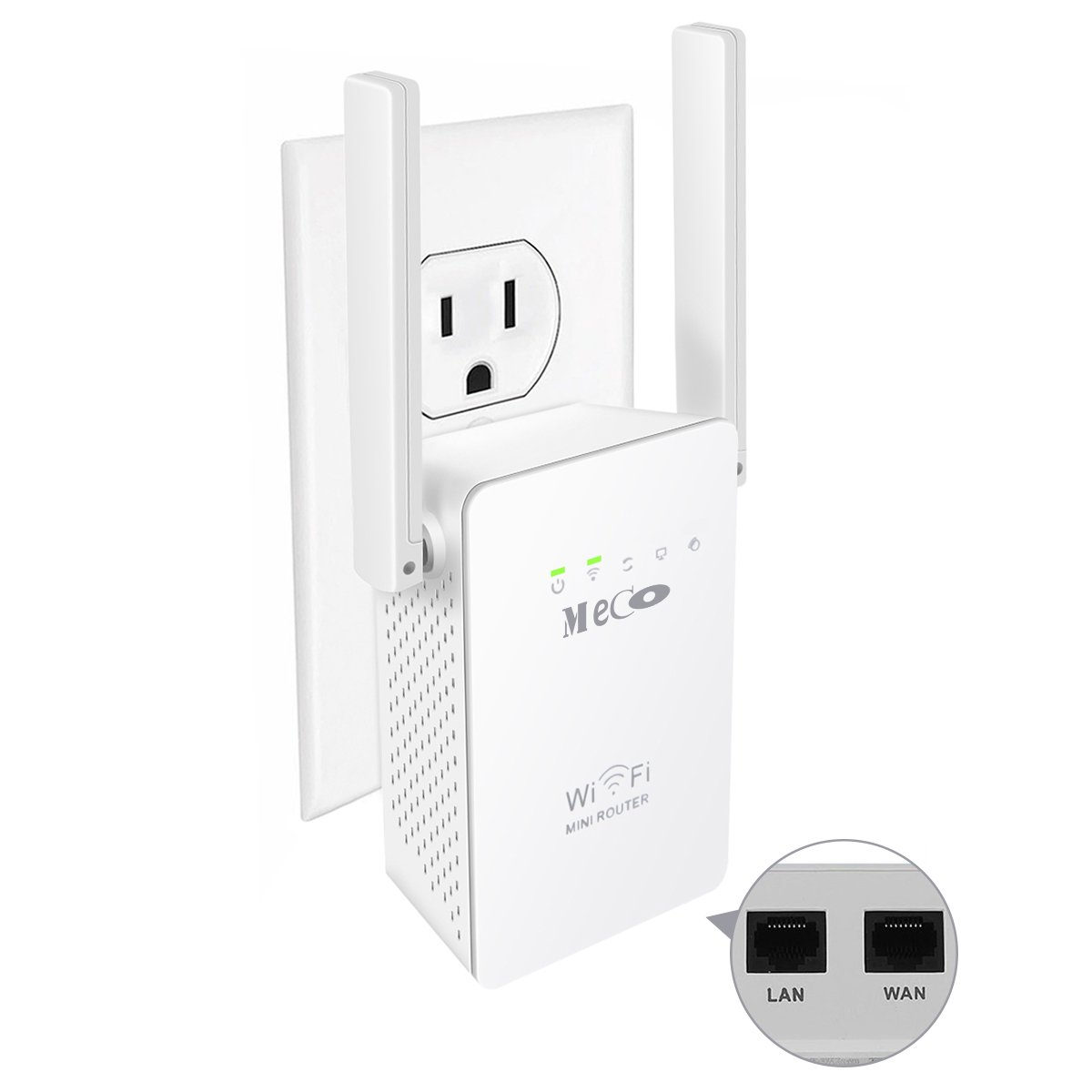WiFi Range Extender, MECO N300 WiFi Repeater Router WiFi Signal Booster Amplifier Wireless Access Point Mini AP 3-in-1 Mode with 2 Ethernet Port Wall Plug 2 External Antennas and WPS Button ,Extends WiFi to Smart Home White