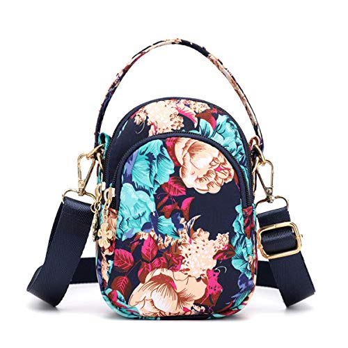 Women Small Crossbody Bags Mini Travel Bags Fashion Handbag Cellphone Wallet Purse Shoulder Pouch 3 Zip Pockets Sports Bag Colorful Rose