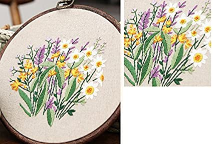 Cross Stitch Stamped Embroidery Kit DIY Beginner Counted Starter Cross Stitch Kit for Art Craft Handy Sewing Including Color Pattern Embroidery Cloth,Embroidery Hoop,Color Threads,Tools Kit