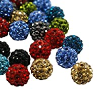 Pandahall 100 Pcs 10mm Pave Disco Ball Clay Beads, Polymer Clay Rhinestone Beads Round Charms Jewelry Makings