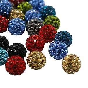 Pandahall 100 Pcs 10mm Pave Disco Ball Clay Beads, Polymer Clay Rhinestone Beads Round Charms Jewelry Makings