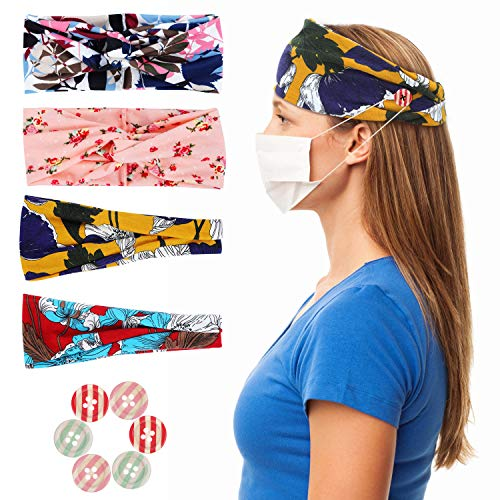 MAQUITA 4 Pack Button Headbands for Nurses Doctors Boho Criss Cross Hair Bands Buttons for Mask Turbans Headbands Fashion Hair Accessories