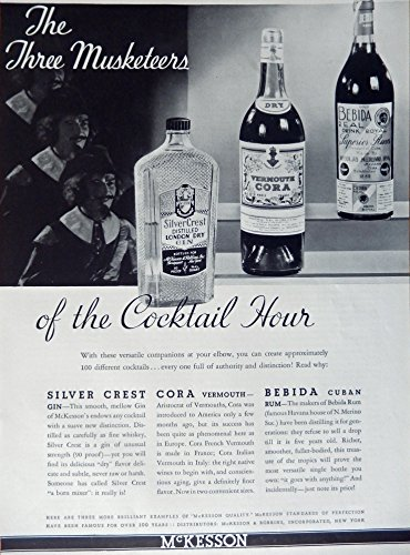 Silver Crest Gin, Cora Vermouth, Bebida Cuban Rum, 1935 Print Ad. B&W Illustration (the three Musketeers of the cocktail hour) authentic original vintage 1935 Esquire Magazine - Cuban Magazine Vintage