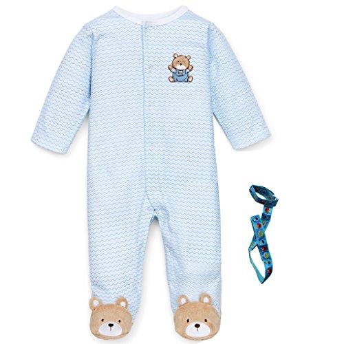 Little Me Newborn Baby Boys Gift Blue Chevron Zigzag Sleeper Hat and Holder