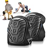 Gel Knee Pads for Work, Construction,Flooring, Plumbers,Tiles (Improved Design) with Heavy Duty Foam Padding and Cushion, Kneepads Is Fully Adjustable, Double Straps and Easy-Fix Clips (Black)