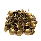Fenteer 100PCS Push Pins Round Headed Thumb Tacks for Cork Boards, Maps, Slipcover Rug Solid Brass - 7x10 mm