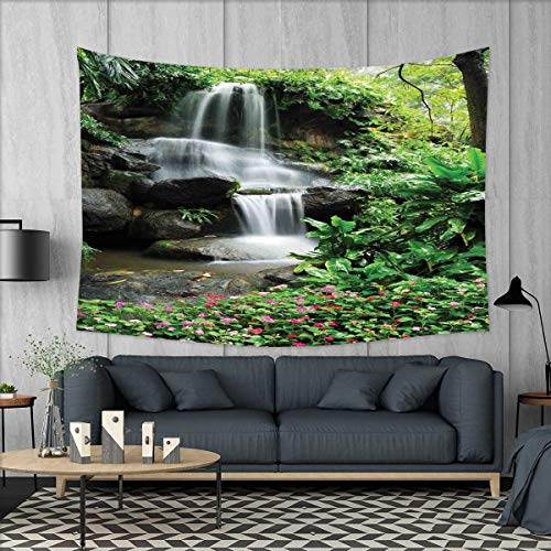 smallbeefly Waterfall Tapestry Wall Hanging 3D Printing Waterfall Pond Flowers Tropical Plants Majestic Fresh Jungle Garden Beach Throw Blanket 60