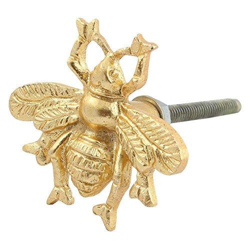 IndianShelf Handmade 2 Piece Aluminum Golden Bee Artistic Rust Free Decorative Knobs for Dressers Decorative Pulls Handle (Decorative Handles Dresser)