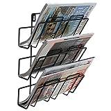 3 Tier Modern Black Wall Mounted Metal Bar Magazine Rack / Document File Folder Hanging Storage Organizer