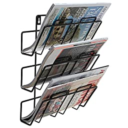 3 Tier Modern Black Wall Mounted Metal Bar Magazine Rack / Document File Folder Hanging Storage Organizer