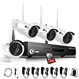 XVIM 4CH Wireless Security Camera System 1080P HDMI NVR with 1TB Hard Drive,4x720P HD CCTV Outdoor IP Cameras 100ft Night Vision, Easy Installation and Remote Access on Phone