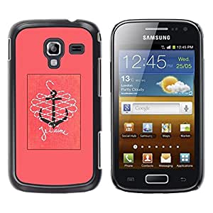 Be Good Phone Accessory // Dura Cáscara cubierta Protectora Caso Carcasa Funda de Protección para Samsung Galaxy Ace 2 I8160 Ace II X S7560M // T'Aime I Love You Pink Text Ancho