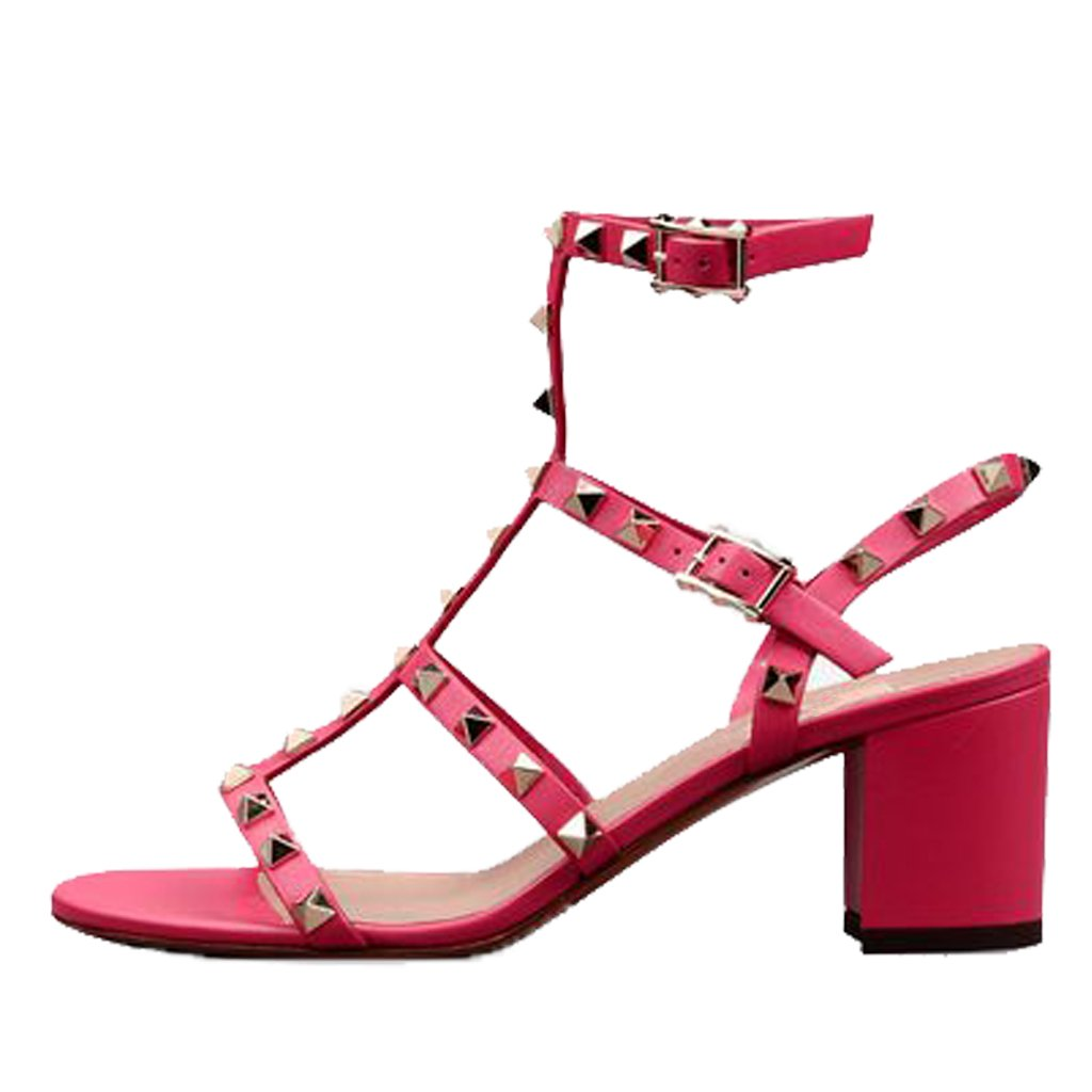 pink-5cm Comfity Sandals for Women,Rivets Studded Strappy Block Heels Slingback Gladiator shoes Cut Out Dress Sandals