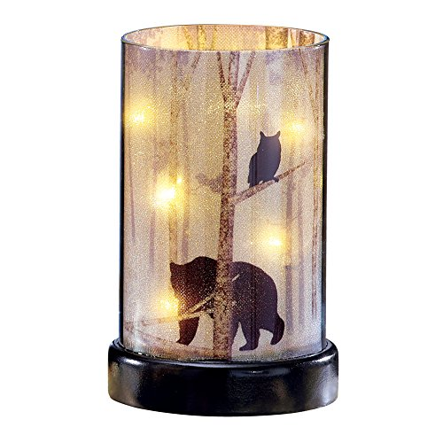 Northwoods Woodland Creature Lighted Hurricane Candle - Cabin Home Decor (Cabin Decor Northwoods)