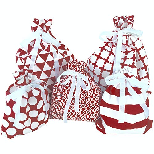 Appleby Lane Fabric Gift Bags (Standard Set, Maroon) 100% Cotton Bags, Set of 5: Three 16x12 inch and Two 10x8 in Bags