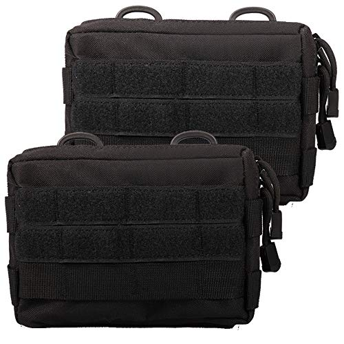 Novemkada MOLLE Pouches - 2 Pack Tactical Compact Water-resistant Utility Gadget Gear EDC Pouch (Pack of 2 Black)