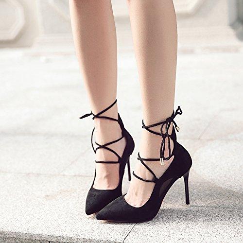 mujer una de zapatos de 39 trenza zapatos la negro de marea de la Strap sola Cross tacones con finos luz punta ZwnTvc6qxa