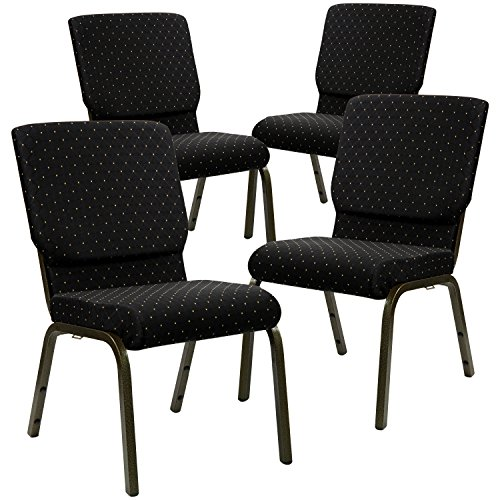 (Flash Furniture 4 Pk. HERCULES Series 18.5''W Stacking Church Chair in Black Dot Patterned Fabric - Gold Vein Frame)